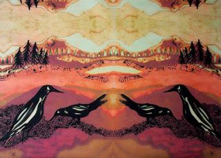crows-alone-batik-fabric-panel