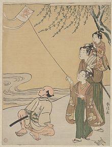 Kite_Flying_by_Suzuki_Harunobu_(鈴木_春信)