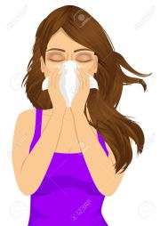 portrait of young sick woman ill suffering allergy using white tissue on noseisolated on white background