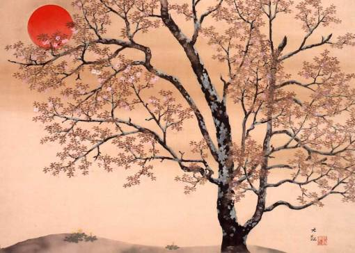 Image result for Japanese painting old man beneath cherry blossom Pinterest